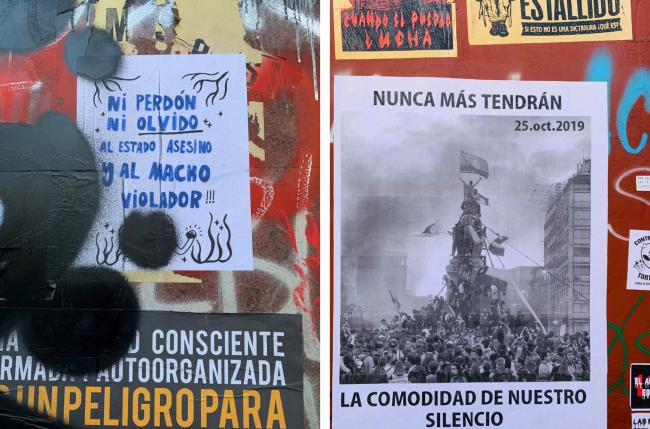 Graffiti in the center of Santiago. On the left: We will neither forgive nor forget the killer state nor the macho rapist. On the right: They will never again enjoy the comfort of our silence. (Photo courtesy of Iraida Lopez)