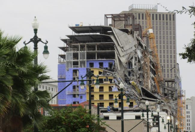 A view of the collapsed Hard Rock Hotel building in New Orleans, as seen from Rampart Street. (Photo by Infrogmation of New Orleans/Flickr)