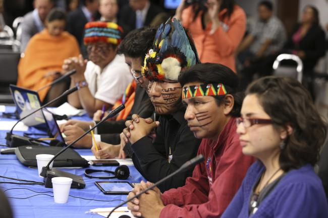 Representatives of CONAIE, Ecuador's largest indigenous organization, at an October 2013 hearing on free, prior, and informed consultation. (Interamerican Commission on Human Rights / Creative Commons.)