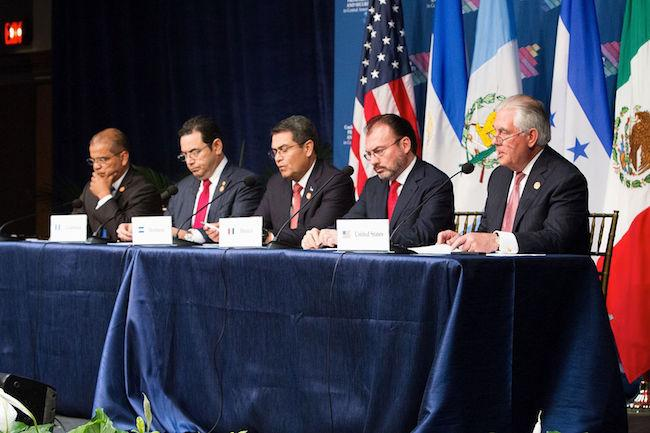 Leaders from Mexico, Honduras, Guatemala, and El Salvador at the Conference for Prosperity and Security in Central America held in Miami, Florida, on June 15. (U.S. Department of State)