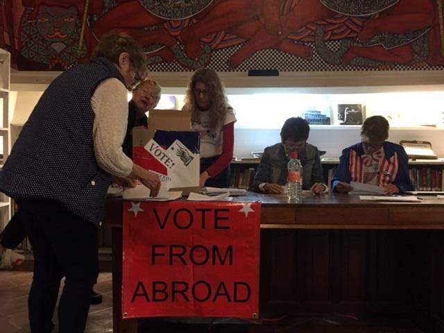 Officers and members of the SMA Chapter of Democrats Abroad begin certifying and counting ballots in San Miguel de Allende on Super Tuesday (Photo by Sheila Croucher)