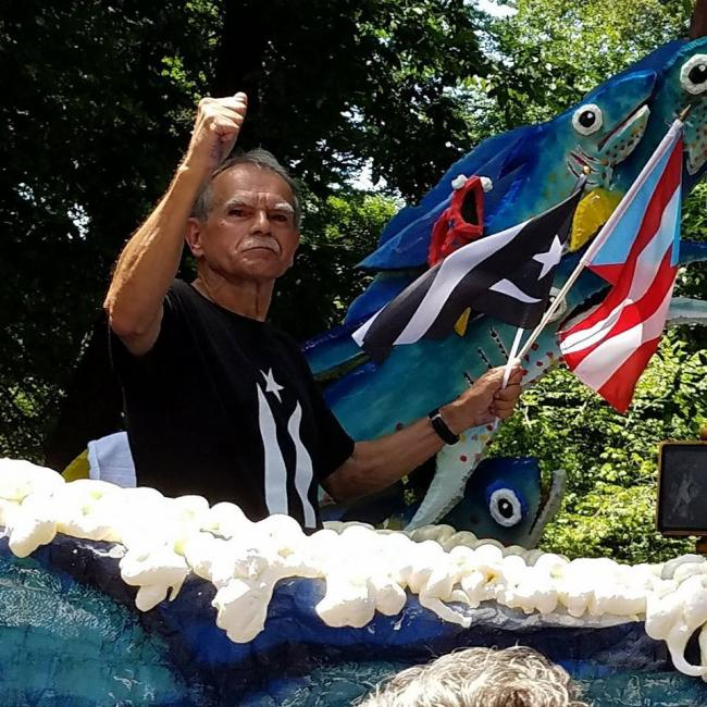 Oscar López Rivera, freed after decades in prison, at this year's Puerto Rican Day Parade (Matt Meyer/Twitter)
