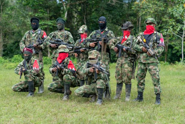 Members of the Che Guevara bloc of the Western War Front of the ELN in Chocó, Colombia. (Photo by Victor Raison)