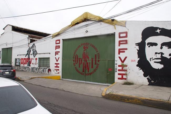 The entrance to Buena Suerte, a collective housing complex near the site of the Metro collpase. (Sam Law)