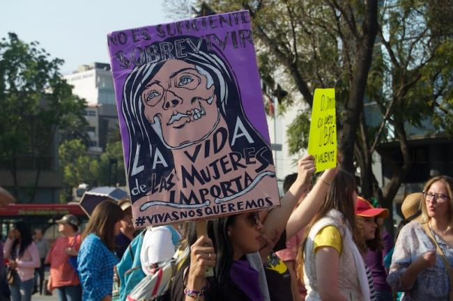 A march in Mexico City in February 2019 (Photo by Madeleine Wattenbarger)
