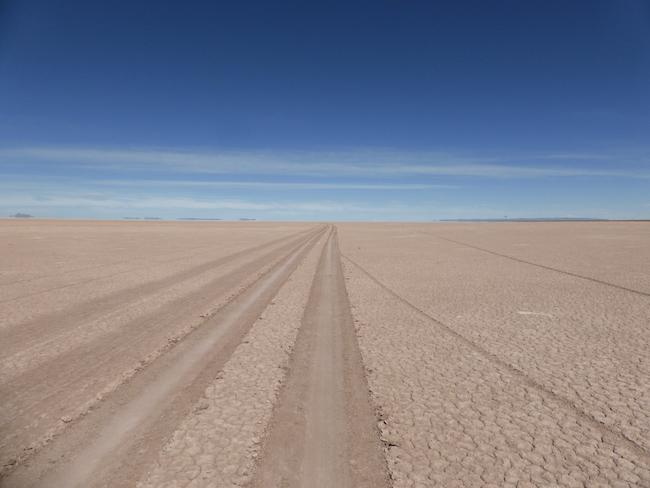A dry lake bed north of Bolivia's Lake Poopó in June 2014. (Clayton Whitt)