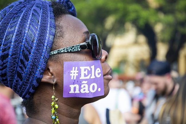 Demonstration against presidential candidate Jair Bolsonaro in Porto Alegre, Brazil on September 29 2018. (Caco Argemi CPERS / Wikimedia Commons)