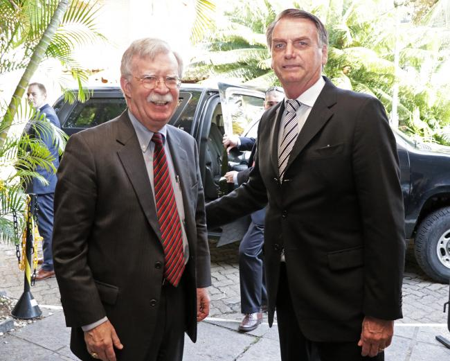 A meeting between soon-to-be Brazilian president Jair Bolsonaro and U.S. National Security Advisor John Bolton in November 2018 (U.S. Consulate in Rio/Wikimedia Commons)