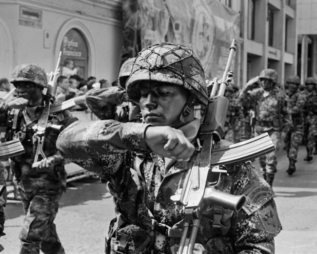 Colombian soldiers march through the streets of Pasto, the Andean city in the volatile southern border region with Ecuador, in a holiday parade celebrating the military. (Miguel Winograd)
