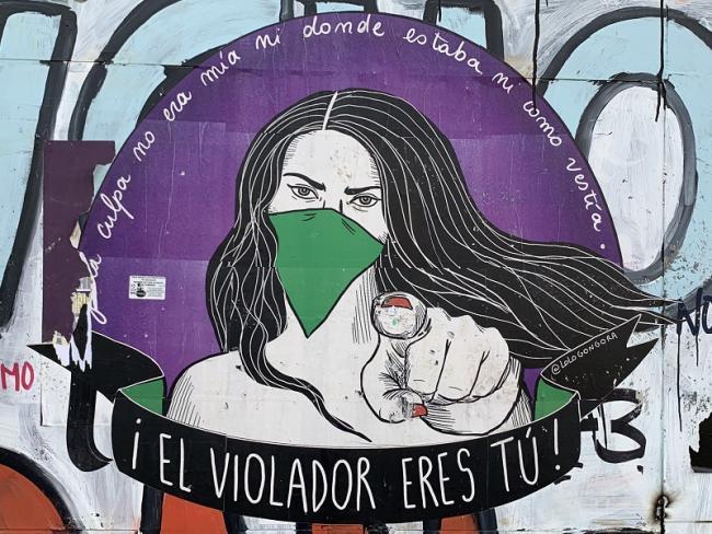 "Street art by Lolo Góngora, ""THE RAPIST IS YOU!,"" GAM cultural center, in Santiago, Chile (Terri Gordon-Zolov)"