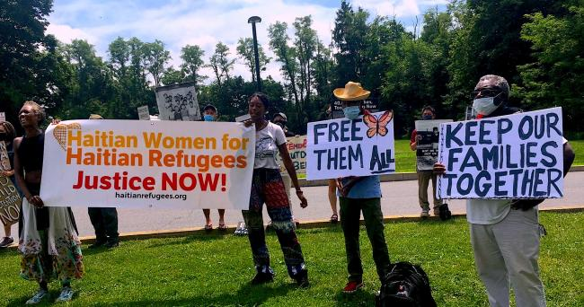 Demonstrators demand the shutdown of Berks County Detention facility in Pennsylvania, August 2020 (Haitian Women for Haitian Refugees)