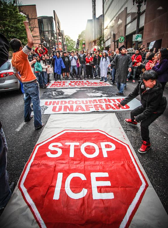Four undocumented Oregon youth with the National Immigration Youth Alliance arrested after leading a May Day march and rally in 2012 to protest Obama's Secure Communities policy. (Steve Pavey/Hope in Focus)