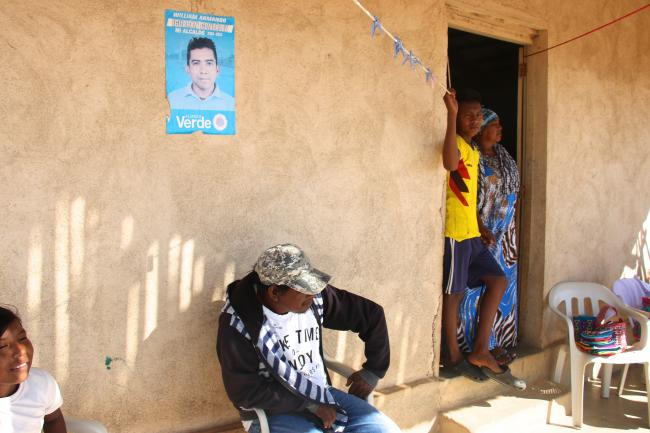 Political posters are ubiquitous throughout La Guajira, yet communities say they don't receive support from local officials. (Photo by Christina Noriega)