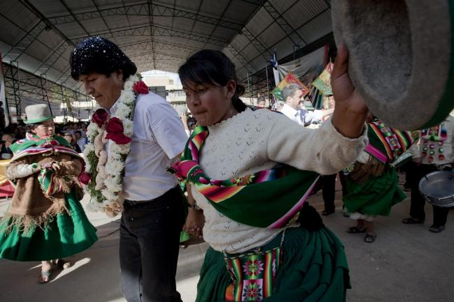 Bolivia's President Evo Morales dances at the Rural Alliance Fair in Cliza, Bolivia on July 6, 2013. (Flickr/Dominic Chavez)