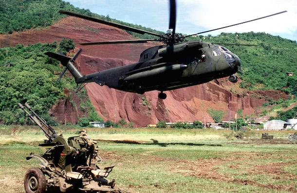 "A U.S. Army helicopter during the U.S. invasion of Grenada, ""Operation Grand Fury"" in October 1983. (Wikimedia Commons)"