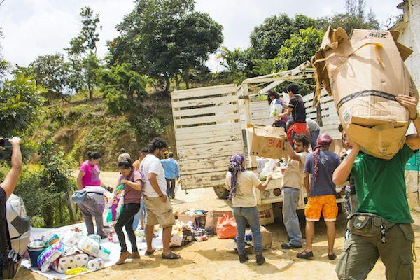 Collective members distribute supplies in the Istmo in Oaxaca in September, 2017. (The Cimarronez Collective)