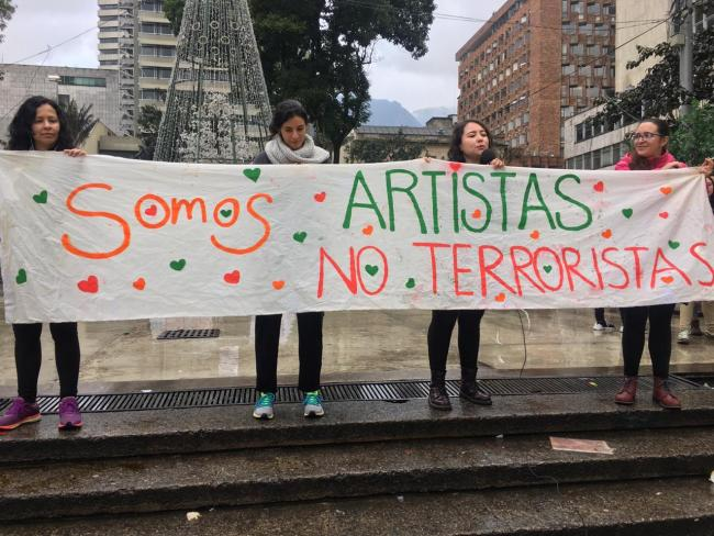 Protestors at the National Strike in Bogotá (Photo by Ana Luisa González)