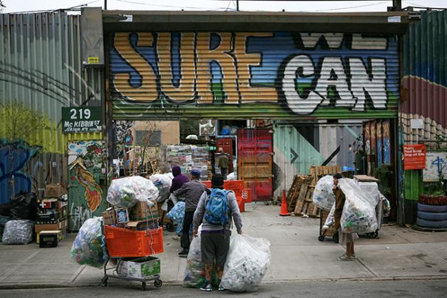 Informal recyclers arrive at Sure We Can, the only non-profit bottle redemption center in New York City. (Carlos Rivera)