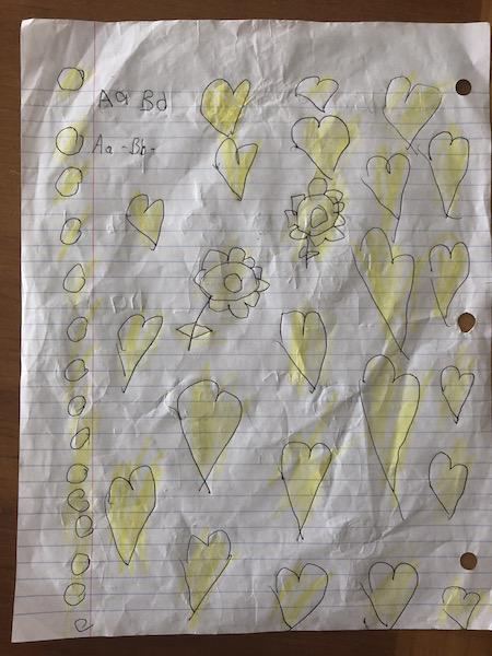 A drawing made for the author by a five-year-old girl in detention at the South Texas Family Residential Center in Dilley, Texas (Courtesy of Nara Milanich)