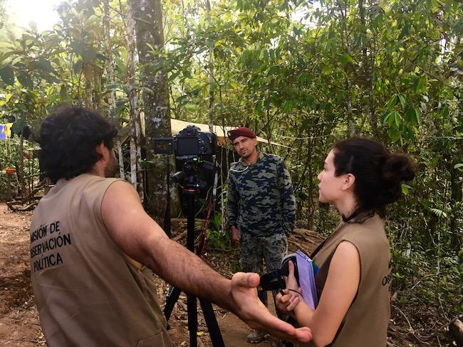 A delegation of progressive Latin American political leaders observes Mariana Paz, a FARC demobilization site. (Nick MacWilliam)