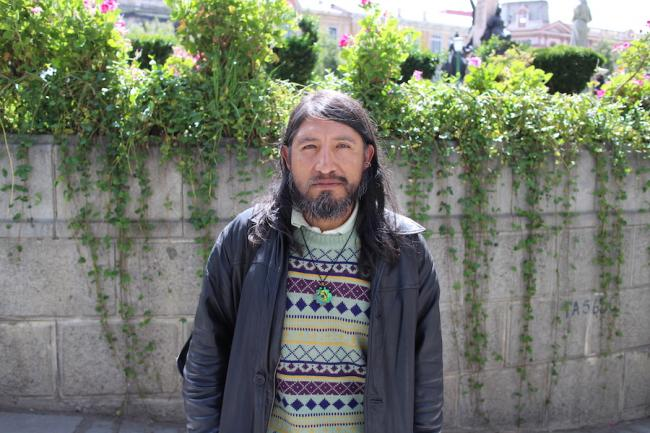 Bolivian human rights lawyer David Inca Apaza in the Plaza Murillo in La Paz, Bolivia on March 12, 2020. (Photograph by Benjamin Dangl)
