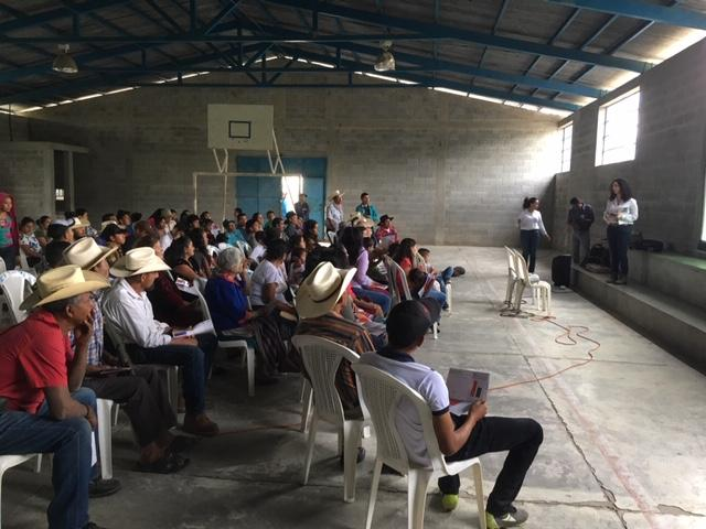 Presentation of the CECON study in communities affected by the Escobal Mine (Photo by Nicholas Copeland)
