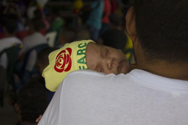 The baby of ex-militant FARC members in a demobilized zone in Putumayo (Photo by Winifred Tate)