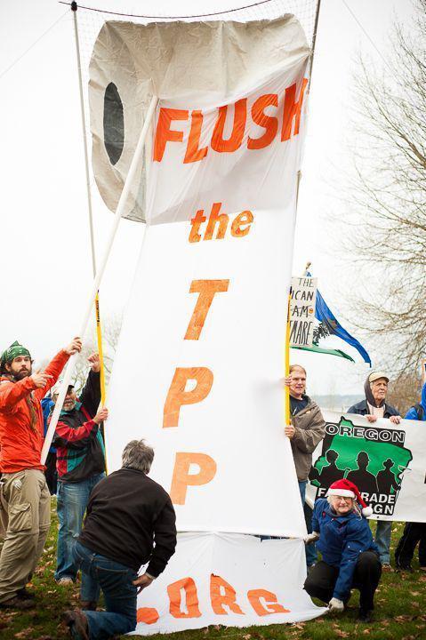 Anti-TPP protest art. (Caelie Frampton).