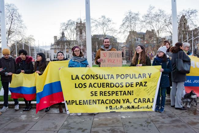 Colombians protesting in London in support of the JEP on March 18, 2019 (Photo by Diego Echeverry).