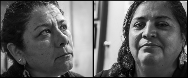 Elvia Villescas (left) and Veronica Rodríguez (right), activists in the Juárez workers movement (Photo by David Bacon)