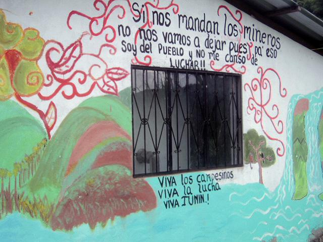 Pro-campesino anti-mining protest art on a community building in Junín (Emily Billo)