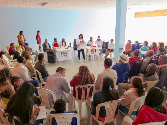 Kata Mora, a teacher, union leader, and FARC candidate speaks at a meeting with victims of the armed conflict. (Photo by Emma Shaw Crane)