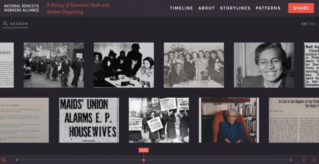 Una foto de pantalla de la cronología digital que está siendo creada por la Alianza Nacional de Trabajadoras del Hogar. (Cortesía de Michelle Joffroy, Jennifer Guglielmo y Diana Sierra Becerra.)