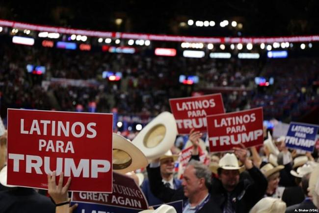 Latinos for Trump signs at day four of the 2016 RNC (Wikimedia Commons)