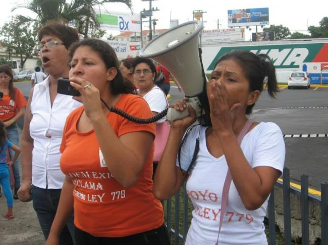 Women in Managua protested reforms to Ley 779 in summer 2013. (Photo by Pamela Neumann)