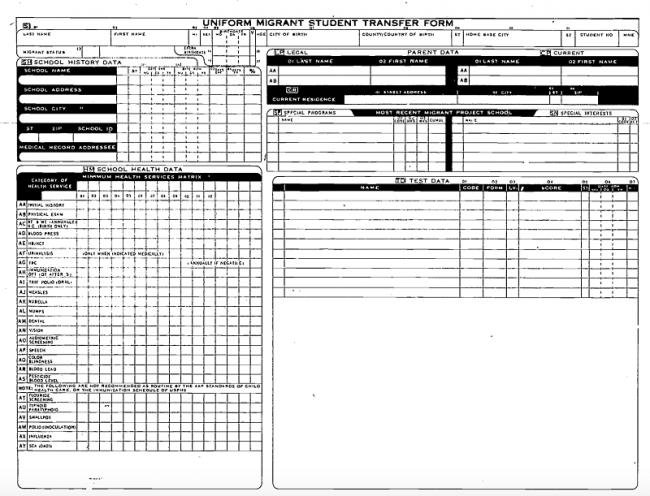 Formularios para la recolección de información utilizados para el ingreso de datos personales de niños y padres migrantes en el MSRTS. (Foto suministrada por el Departamento de Educación de California, Oficina de Servicios a la Comunidad y Expedientes Adm