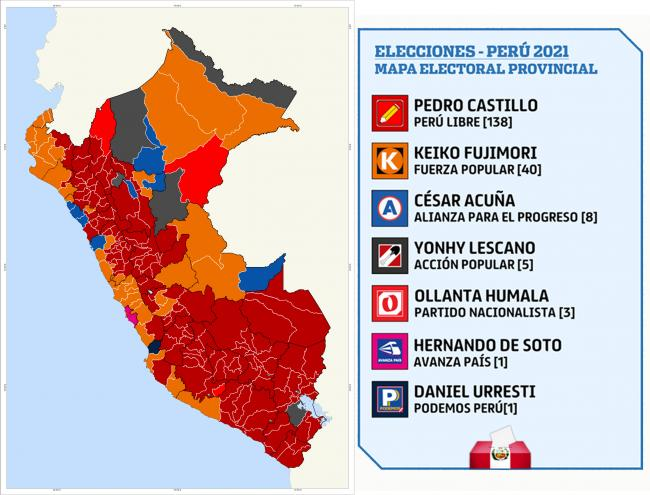 Election results in Peru's 2021 first round vote by region. (Dvj16 / CC0)