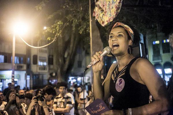 The late Rio de Janeiro city councilwoman Marielle Franco speaks at a rally in August 2016. (Wikimedia Commons/Mídia NINJA)