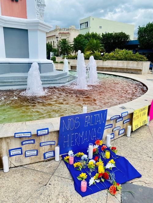 """An altar installation reads """"We're missing sisters"""" during a protest in Mayaguez, Puerto Rico, May 7, 2021. (Thalia Fajardo Crespo)"""