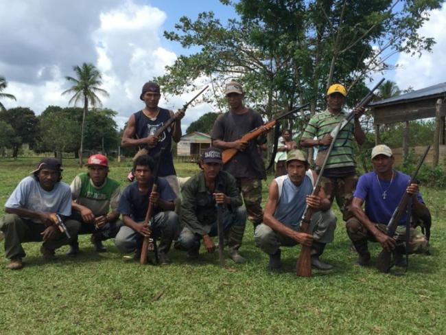 A group of Miskitu men who have taken up arms against the colono insurgency (Photo by Courtney Parker)
