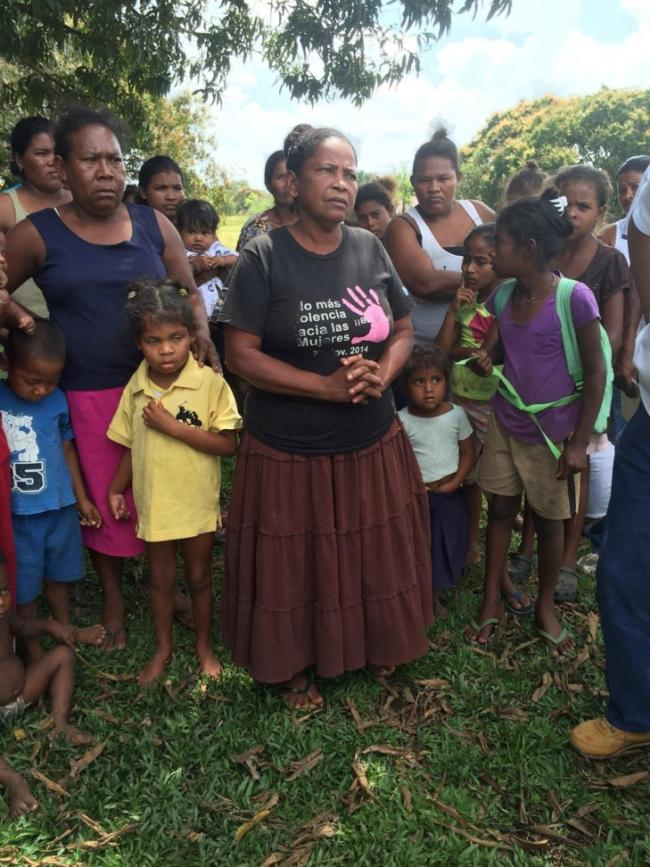 Miskitu women denounce violence - this woman's daughter (yellow shirt) was shot in the head by colonos (Photo by Courtney Parker)