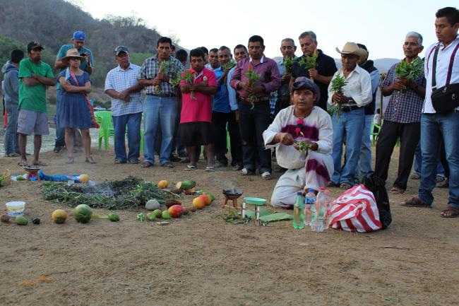 Members of the Mixtec and Chatino peoples hold ceremonies at Río Verde. (Photo courtesy of Educa)