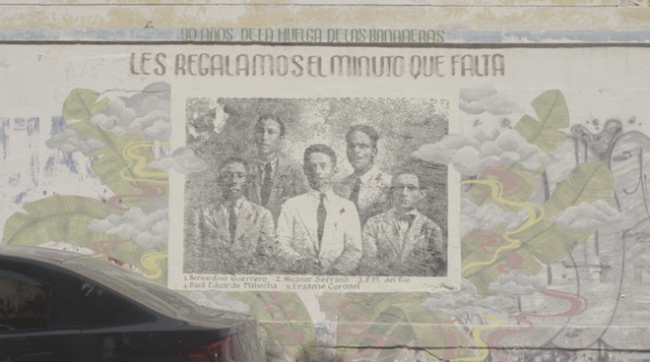 "Mural by Soma Difusa of the photograph, ""liberated"" from the United Fruit Company archive in Panama, of the five strike leaders in Santa Marta, Colombia. Courtesy of Soma Difusa and Jáfana Jáfana."