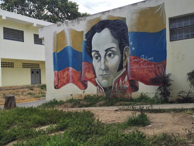 A mural of Simón Bolívar in Caracas. (Photo by Gabriel Hetland)