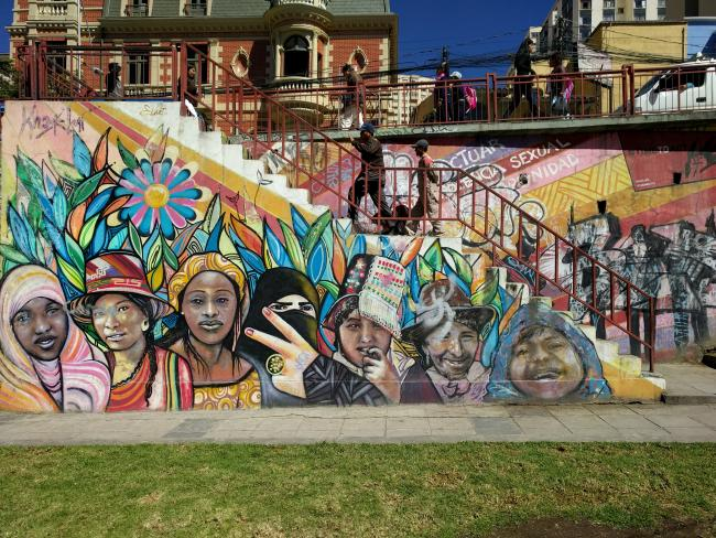 A mural in La Paz photographed in 2017 depicts plurinationalism. (Photo by Chris Hartmann)