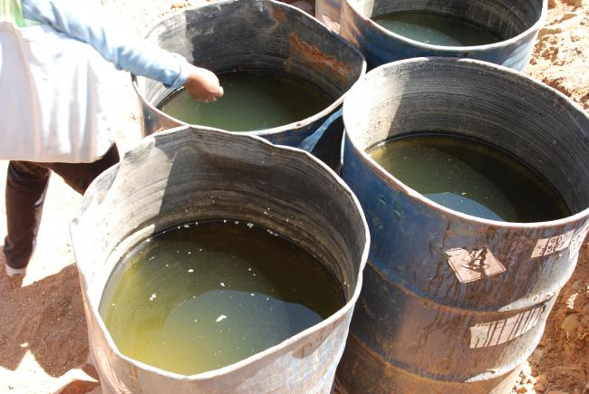 Contaminated water barrels on the outskirts of Cochabamba (Photo by Nasya Razavi)