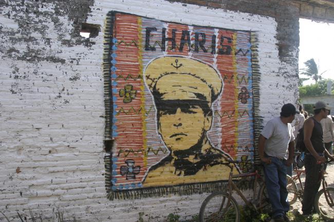 Mural on the wall of the Asamblea de la Colonia Álvaro Obregón, the former hacienda of Colonel Heliadoro Charis (Scott A. Sellwood)