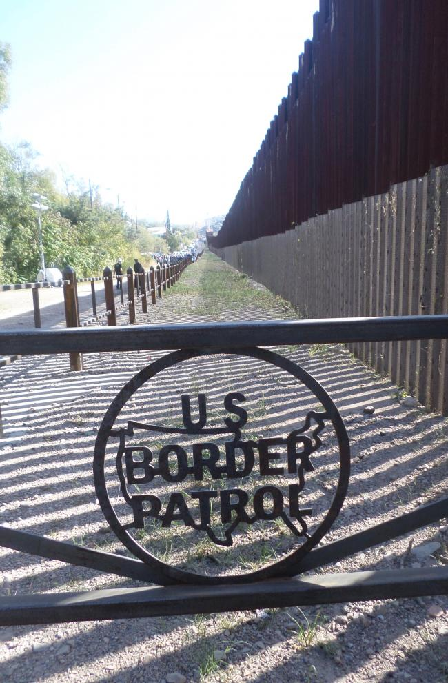 """No man's land"" next to the border wall (photo by Katharine Davies Samway)"