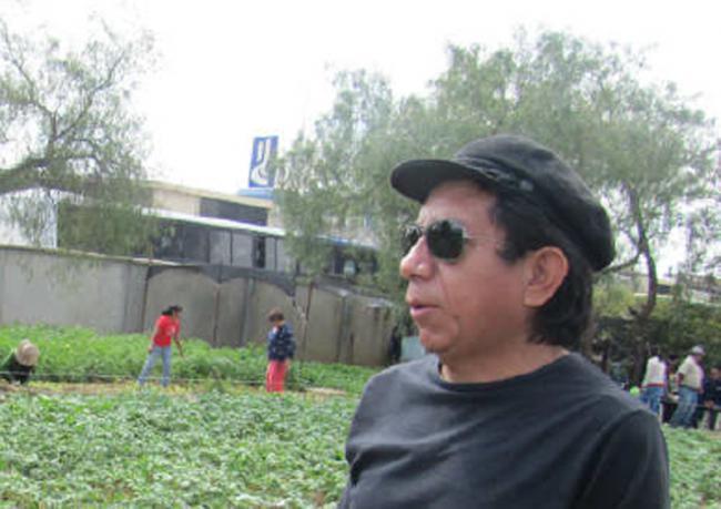 Oscar Olivera in the community garden, Cochabamba (Nancy Romer)