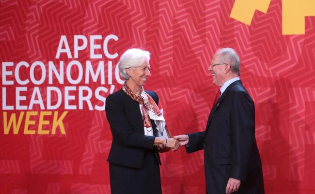 International Monetary Fund (IMF) Managing Director Christine Lagarde and Peruvian President Pablo Kuczynski at the APEC Economic Leaders' Week in Lima in November (Flickr)